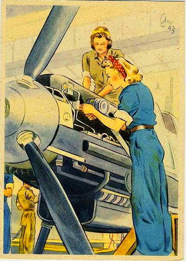 cartoon, bomb girls work on aircraft