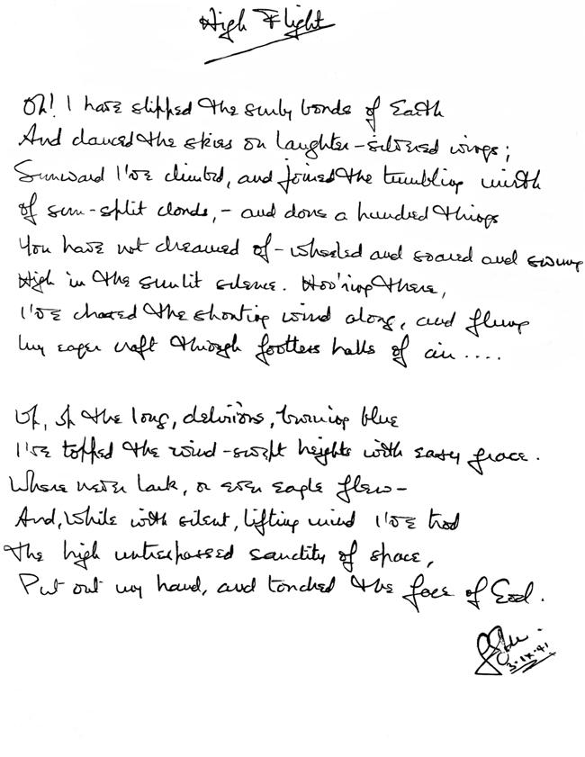 High Flight Written 75 Years Ago -- Elinor Florence