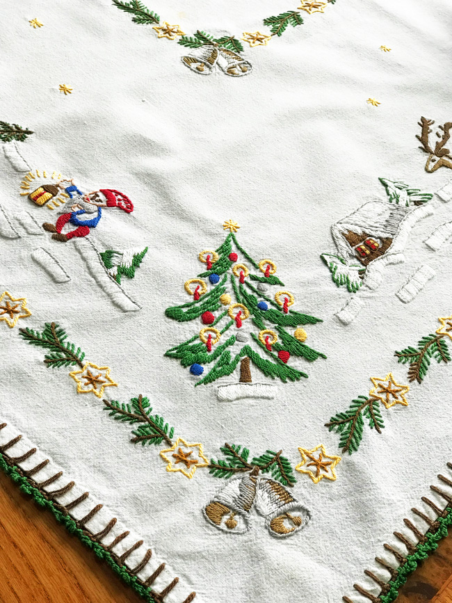 ten favorite Christmas traditions, Christmas Elves embroidered tablecloth