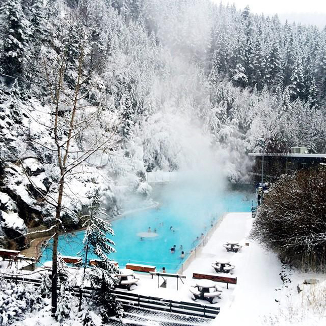 ten favourite Christmas traditions, Radium Hot Springs pool in winter