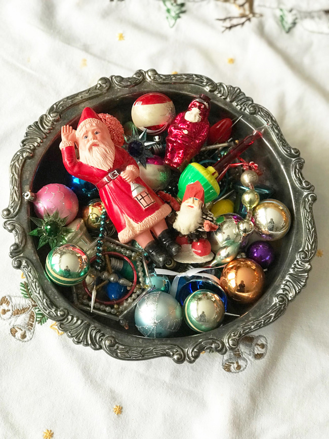 ten favorite Christmas traditions, vintage Christmas ornaments in silver bowl