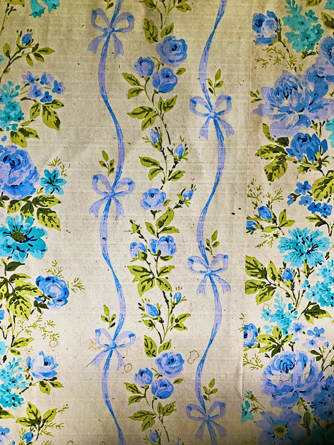 Blue floral wallpaper from old Alberta farmhouse