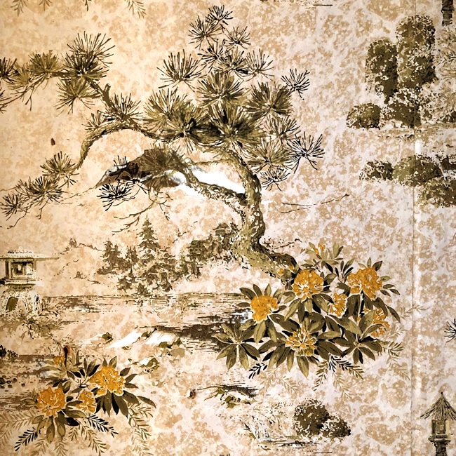 Vintage Oriental wallpaper, from old Alberta farmhouse