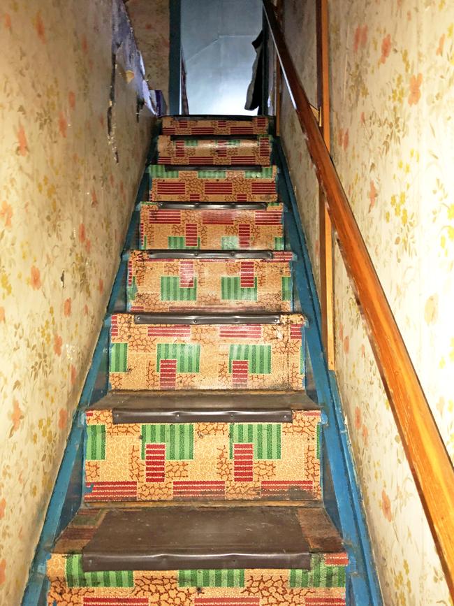 Vintage linoleum on stairs in old Alberta farmhouse