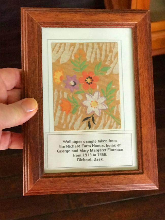 Vintage wallpaper sample, framed