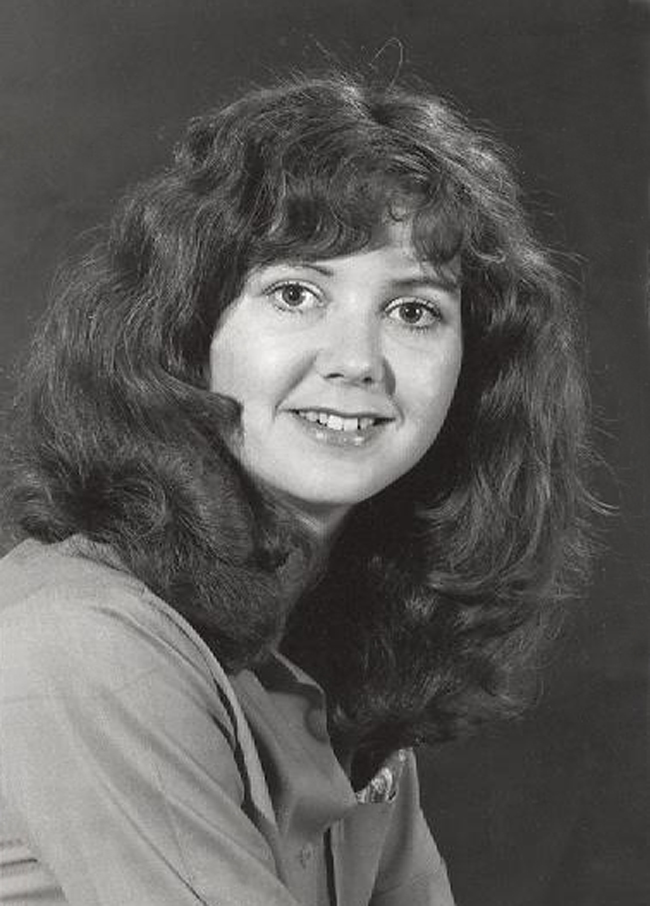 Elinor Florence with curly hair, 1980