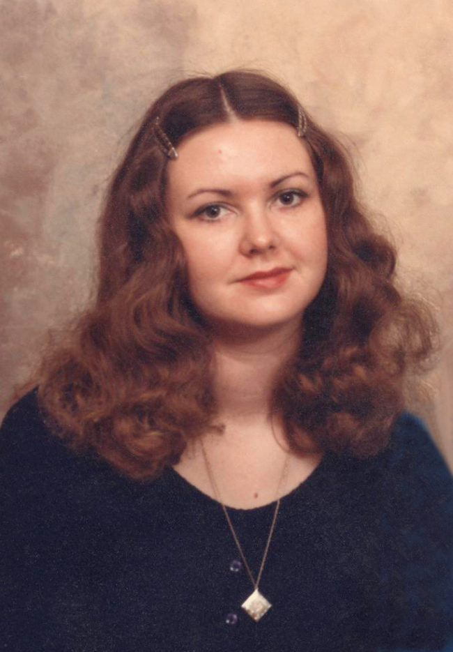 Elinor Florence with curly hair, 1974