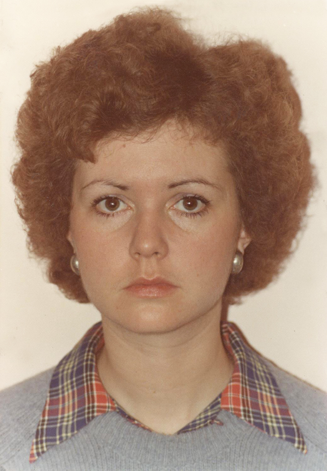 Elinor Florence with short, curly hair, 1977