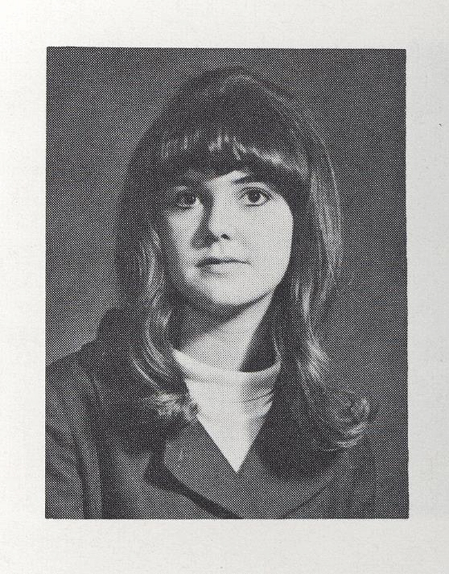 Elinor Florence with curly hair, high school yearbook, 1968, Battleford, Sask.