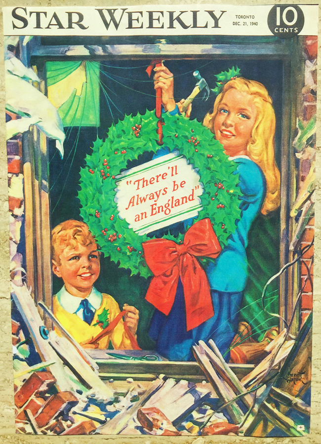 Star Weekly magazine cover, 1940, Christmas wreath
