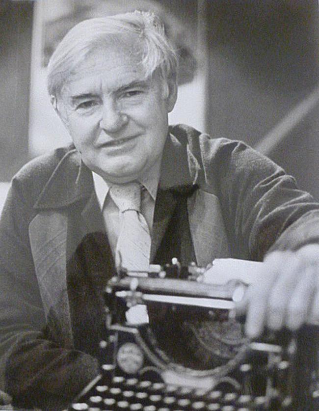 Tony Cashman of Edmonton, World War Two veteran, author, journalist, historian with his typewriter