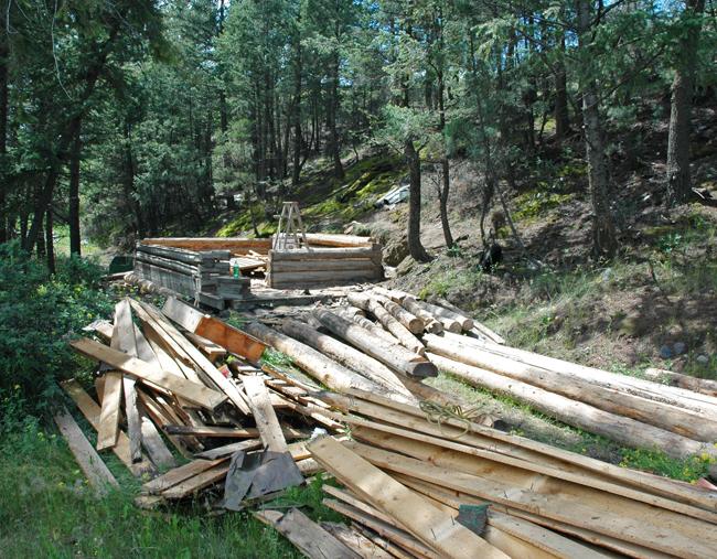 log cabin, dismantled
