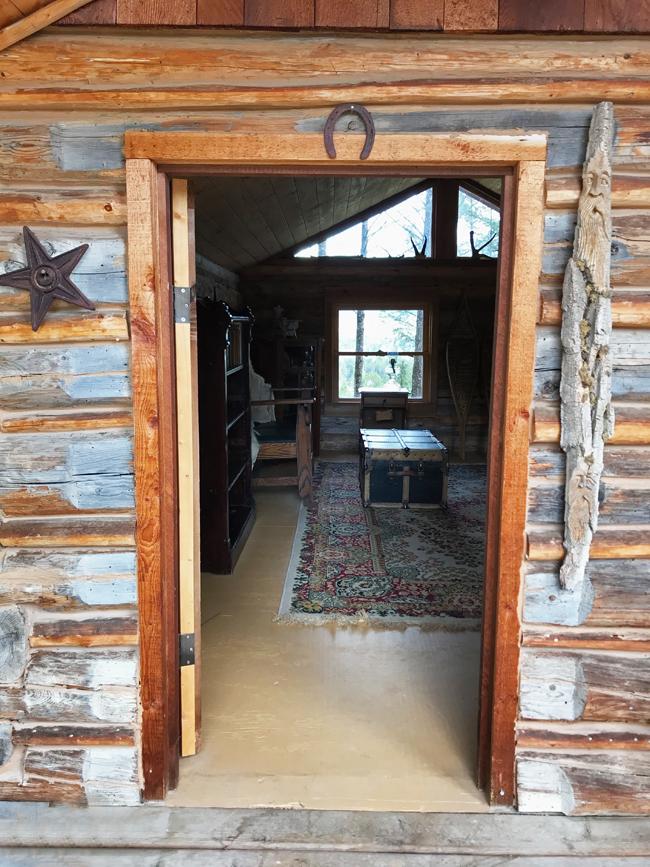 log cabin front door