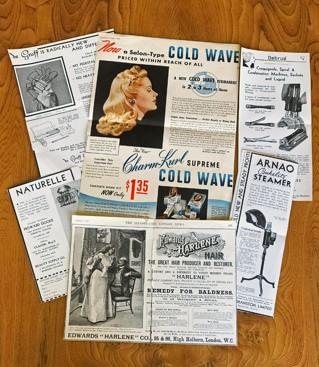 vintage hair products, newspaper clippings