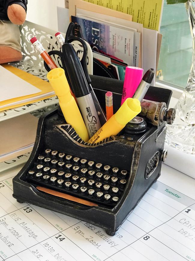 home office vintage typewriter pencil holder, Elinor Florence