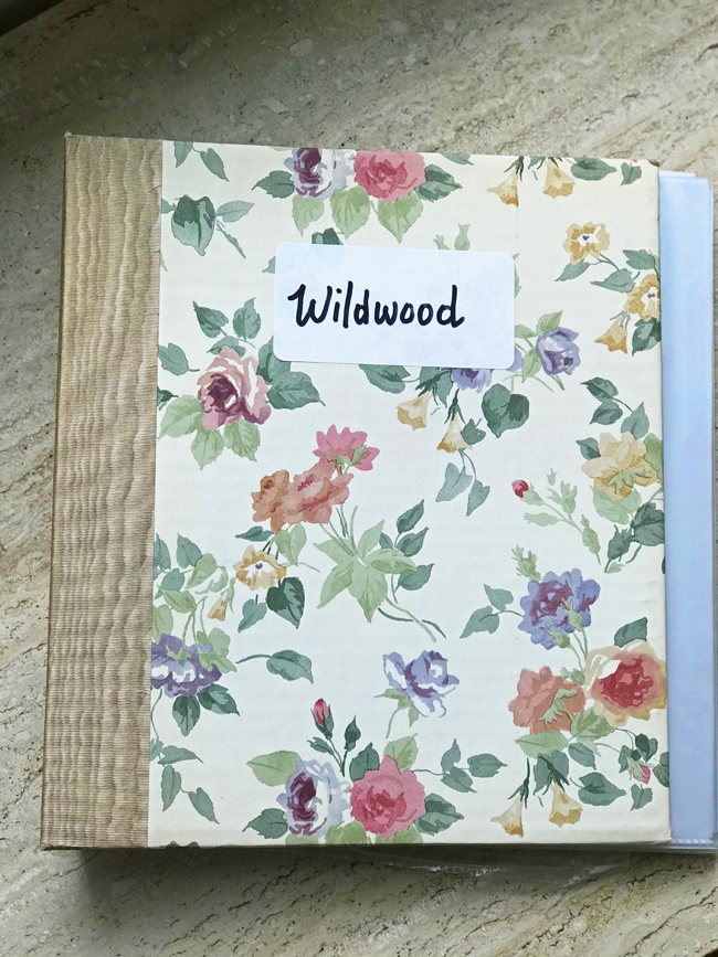 home office, scrapbook of book reviews for Wildwood, Elinor Florence