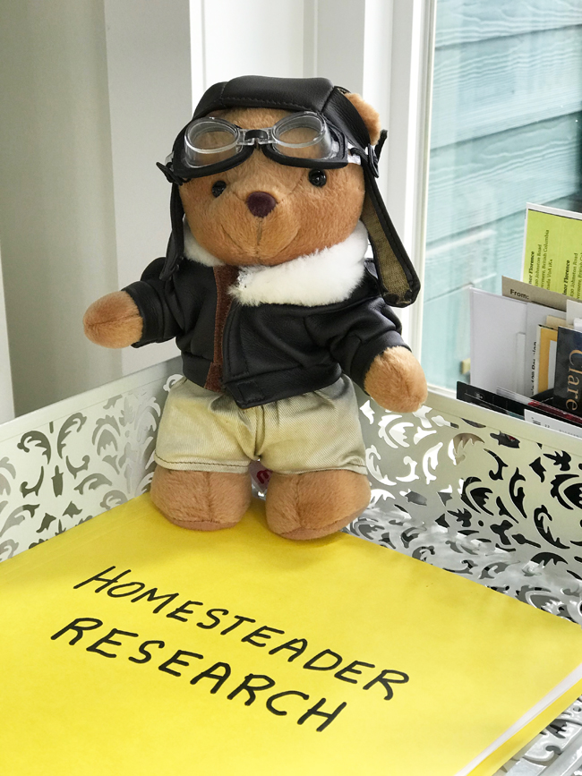 home office teddy bear mascot, Elinor Florence
