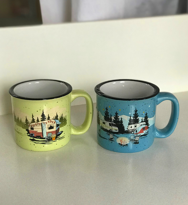 vintage camper renovation, camping mugs