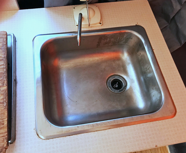 vintage camper renovation, sink, before
