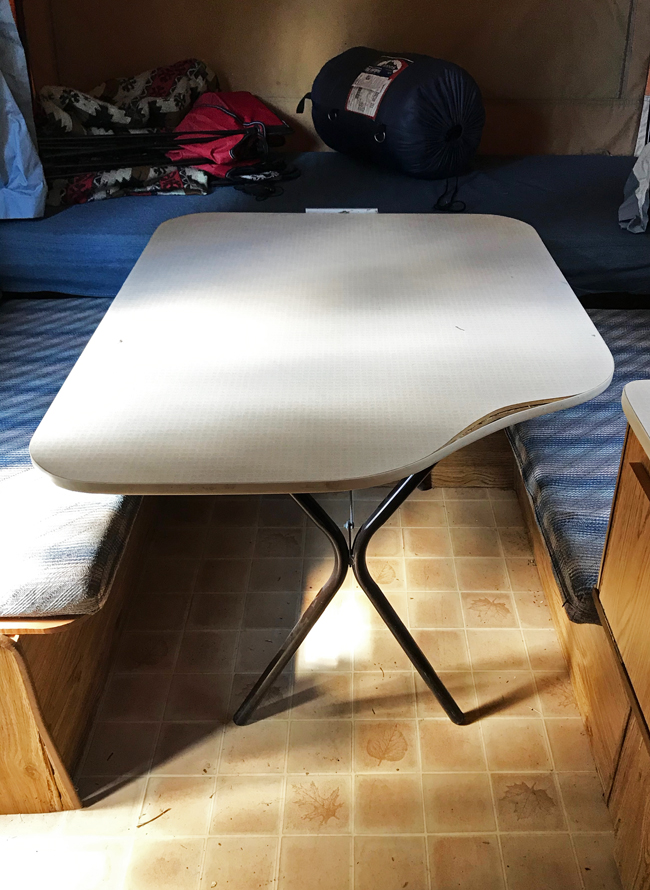 vintage camper renovation, table, before