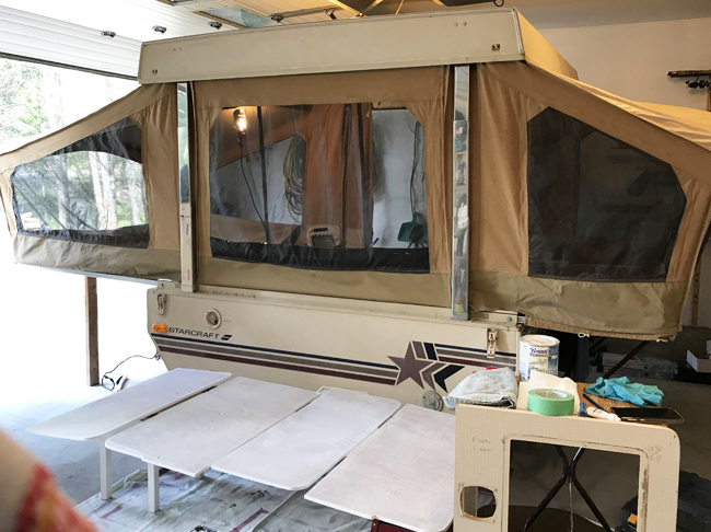 vintage camper restoration, doors, primed and ready to paint