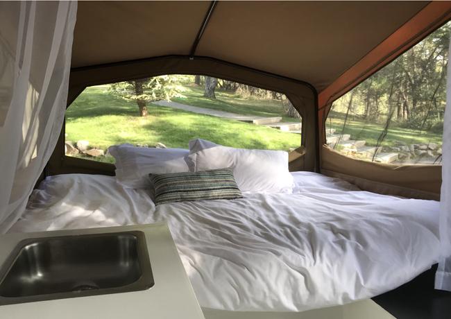 vintage camper restoration, master bed