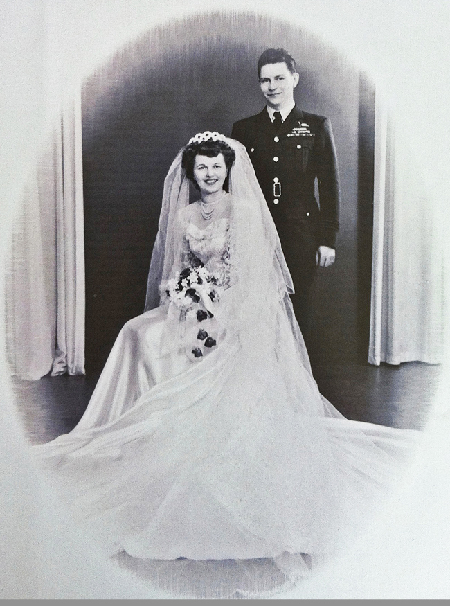My Favourite Veterans book cover, Stocky and Toni wedding photo, full-length