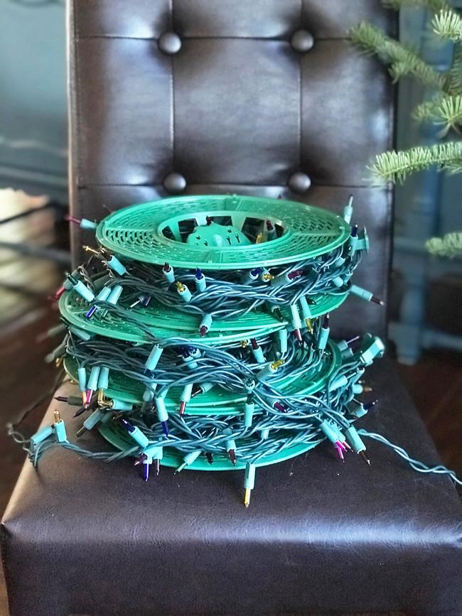Christmas tree lights, coiled