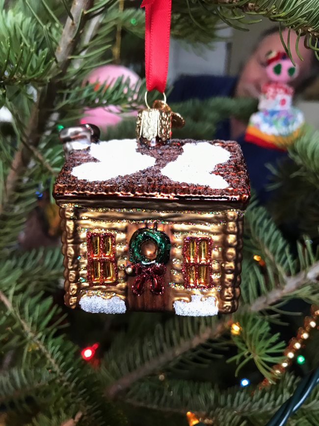 traditional tree ornament log cabin