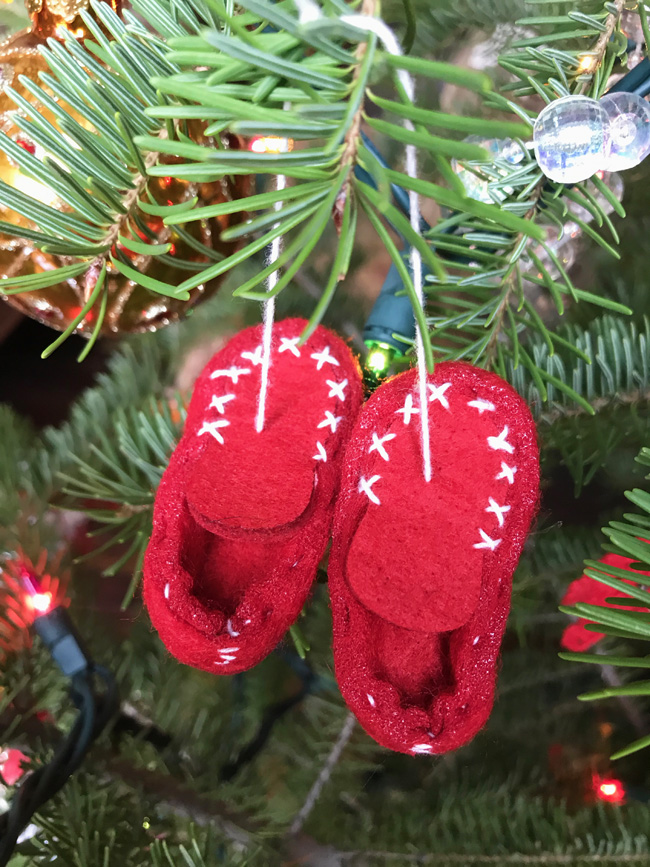 traditional tree ornament moccasins
