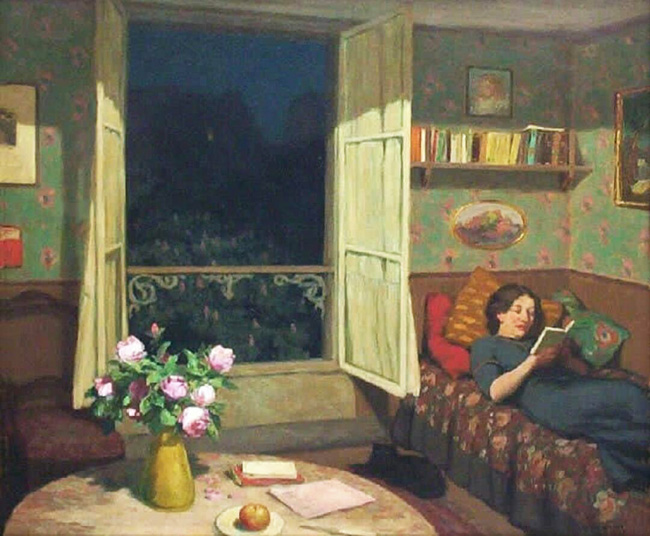 Vilma Reading on a Sofa, by T.F. Simon.