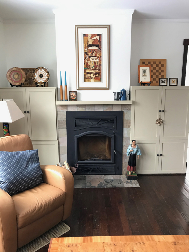 living room fireplace wall, painted white