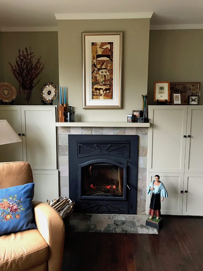living room fireplace wall, earth tone paint