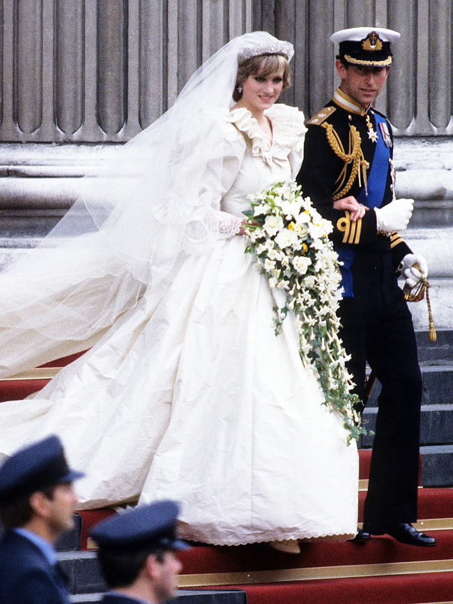 Prince Charles and Diana on wedding day, July 1981