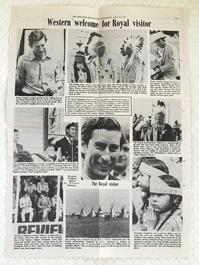 Newspaper page shows photos of Prince Charles, 1977