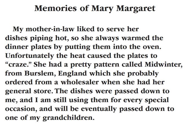 Florence Family Recipes, Memory