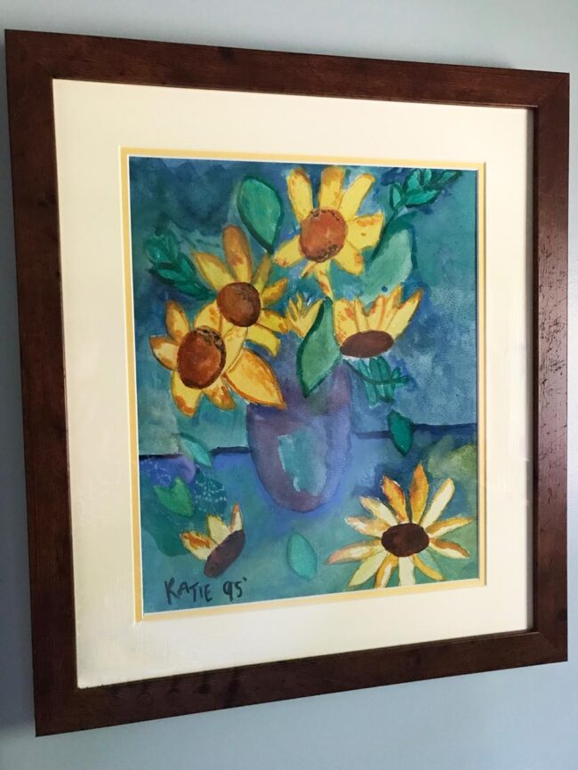 what to save in a fire, sunflower painting