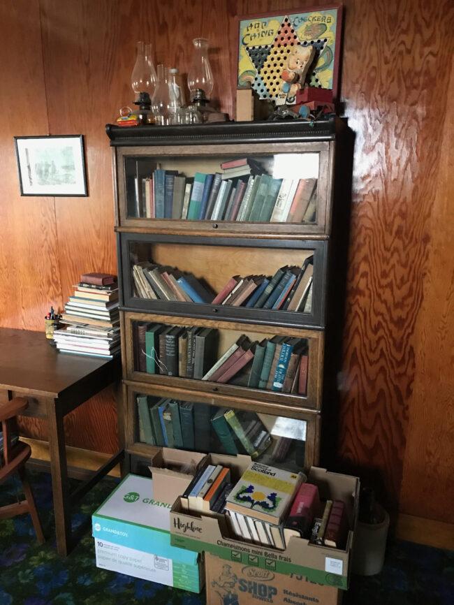 back to the farm, books in book case in Saskatchewan farmhouse